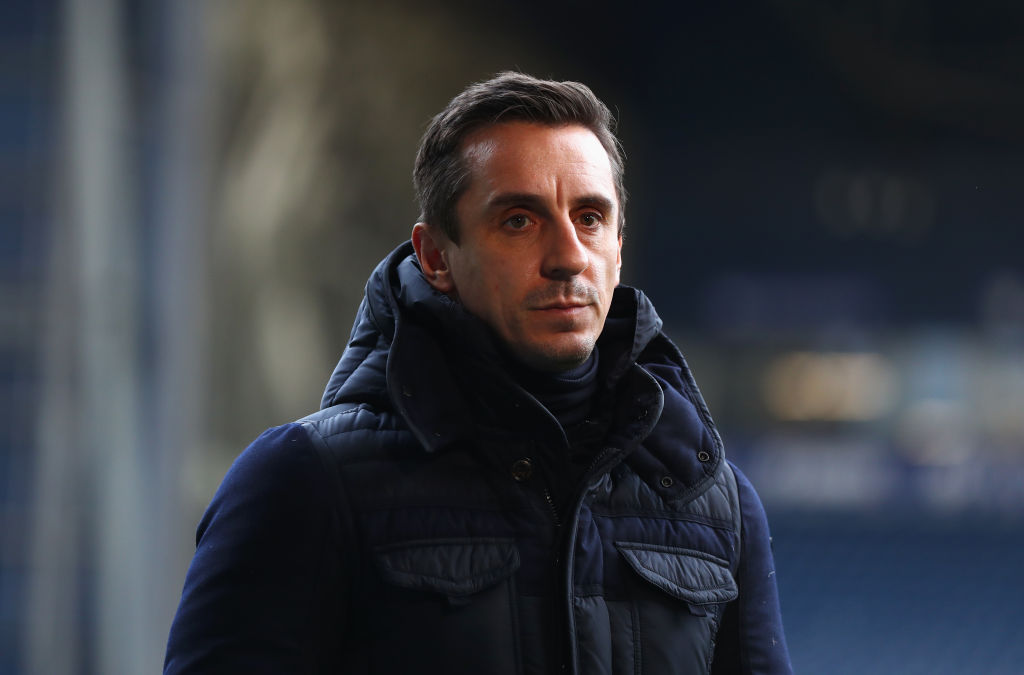 WEST BROMWICH, ENGLAND - DECEMBER 31: Pundit Gary Neville looks on prior to the Premier League match between West Bromwich Albion and Arsenal at The Hawthorns on December 31, 2017 in West Bromwich, England. (Photo by Michael Steele/Getty Images)