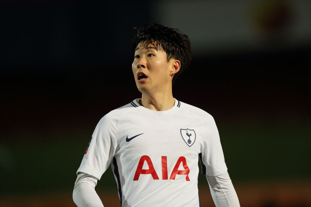 ROCHDALE, ENGLAND - FEBRUARY 18: Son Heung-min of Tottenham Hotspur during The Emirates FA Cup Fifth Round match between Rochdale and Tottenham Hotspur on February 18, 2018 in Rochdale, United Kingdom. (Photo by Matthew Ashton - AMA/Getty Images)