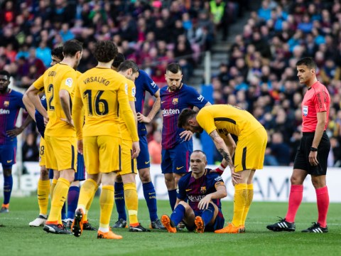 Andres Iniesta trains with Barcelona ahead of Champions League tie with Chelsea