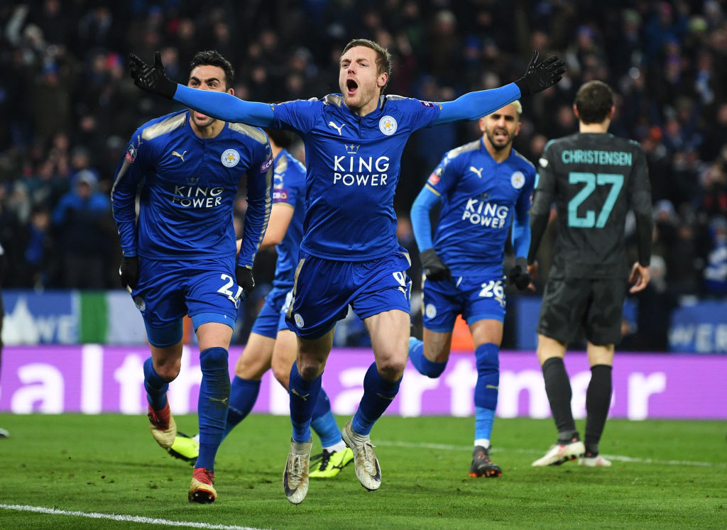 Jamie Vardy celebrates scoring against Chelsea in the FA Cup