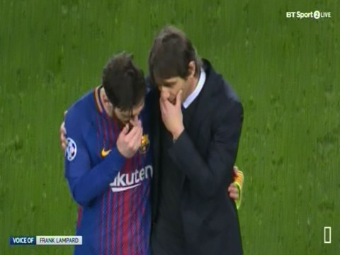 Antonio Conte leaves pitch hugging Lionel Messi after Chelsea's defeat to Barcelona