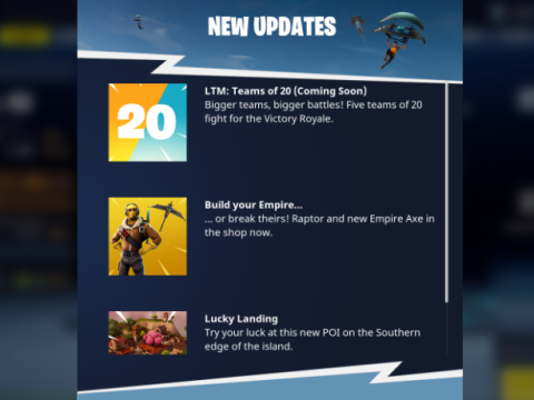 Teams of 20 game mode being added to Fortnite Battle Royale
