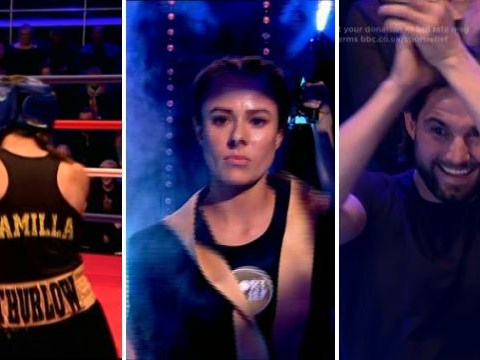 Jamie Jewitt cheers on Camilla Thurlow in Sport Relief boxing match with Helen Skelton