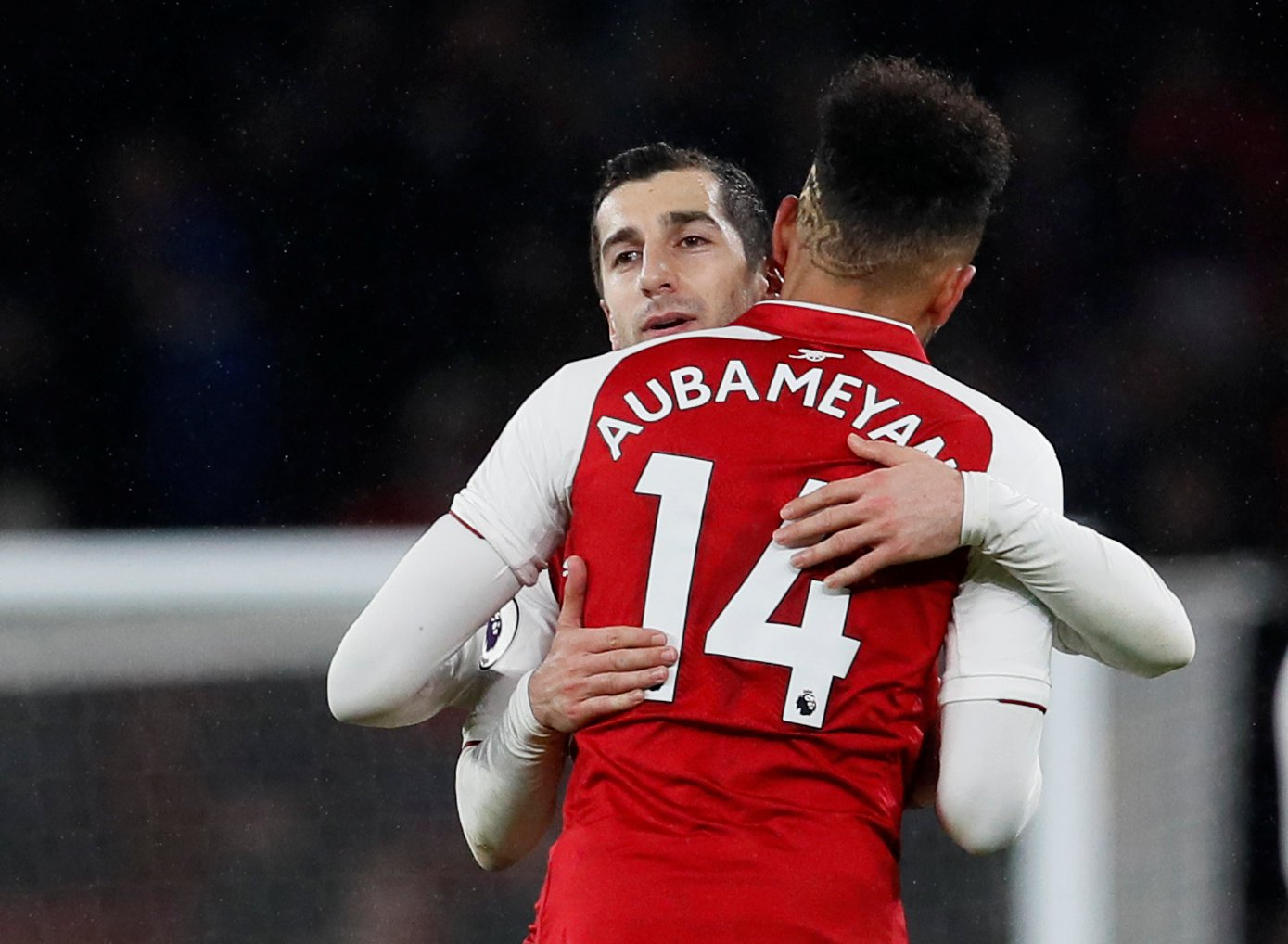 "Soccer Football - Premier League - Arsenal vs Everton - Emirates Stadium, London, Britain - February 3, 2018 Arsenal's Henrikh Mkhitaryan and Pierre-Emerick Aubameyang celebrate after the match REUTERS/David Klein EDITORIAL USE ONLY. No use with unauthorized audio, video, data, fixture lists, club/league logos or ""live"" services. Online in-match use limited to 75 images, no video emulation. No use in betting, games or single club/league/player publications. Please contact your account representative for further details."