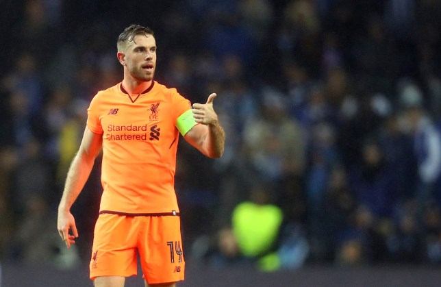 Liverpool's Jordan Henderson gestures during the Champions League round of sixteen first leg soccer match between FC Porto and Liverpool FC at the Dragao stadium in Porto, Portugal, Wednesday, Feb. 14, 2018. (AP Photo/Luis Vieira)