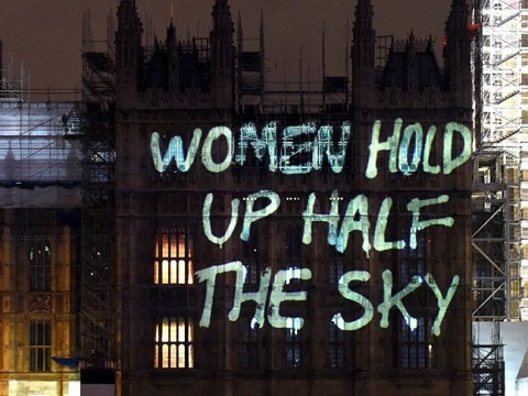 Messages of female strength projected on Houses of Parliament for International Women's Day