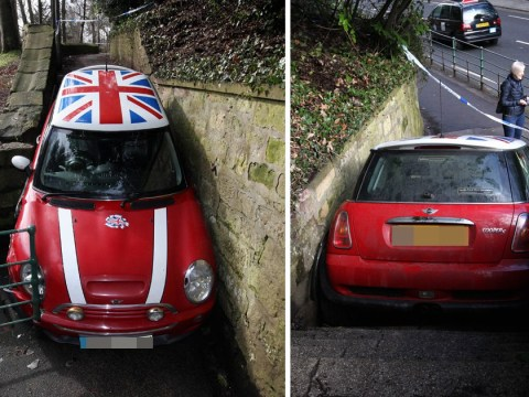 Driver gets stolen Mini wedged on staircase while attempting getaway