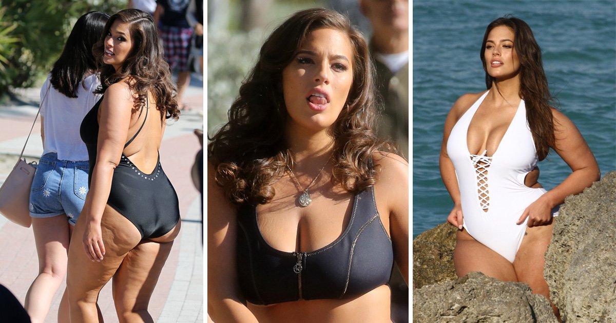 Ashley Graham rocks as she models latest swim range during hot Miami photoshoot