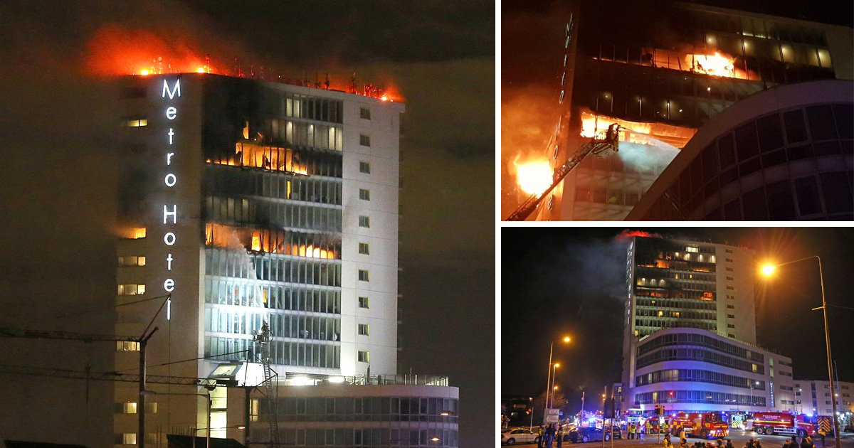 Massive fire erupts in top floors of Dublin hotel