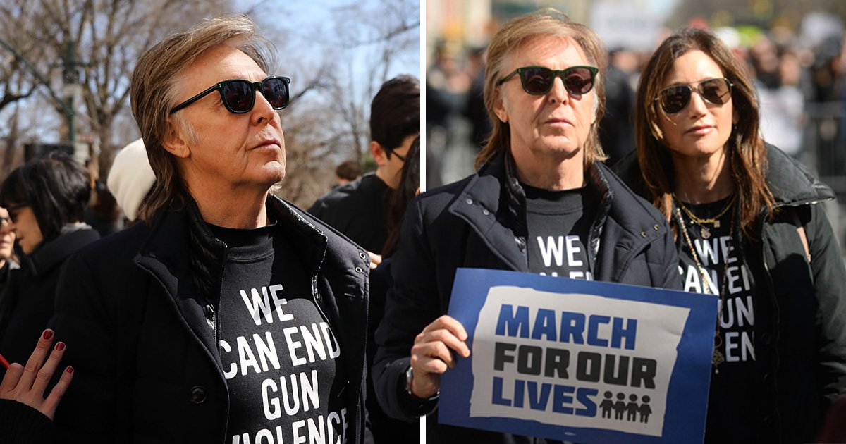 Sir Paul McCartney pays tribute to John Lennon at March For Our Lives with a plea to end gun violence