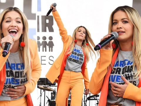Rita Ora says it was 'an honour' to attend March For Our Lives as she gives passionate performance
