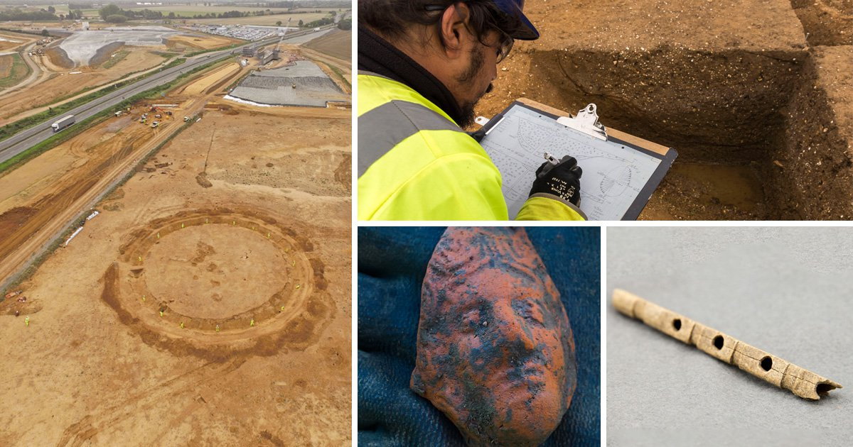 Abandoned medieval village uncovered by roadworks off the A14 near Cambridge