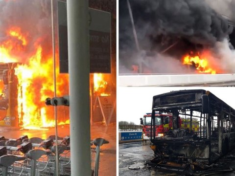 Stansted Airport evacuated after shuttle bus bursts into flames outside main terminal
