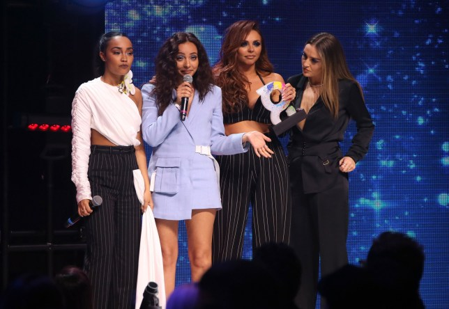 Leigh-Anne Pinnock, Jade Thirlwall, Jesy Nelson and Perrie Edwards of Little Mix win the award for Best British Artist or Group at The Global Awards, a brand new awards show hosted by Global, the Media & Entertainment group, at London's Eventim Apollo Hammersmith. PRESS ASSOCIATION Photo. Picture date: Thursday March 1, 2018. See PA story SHOWBIZ Global. Photo credit should read: Joel Ryan/PA Wire
