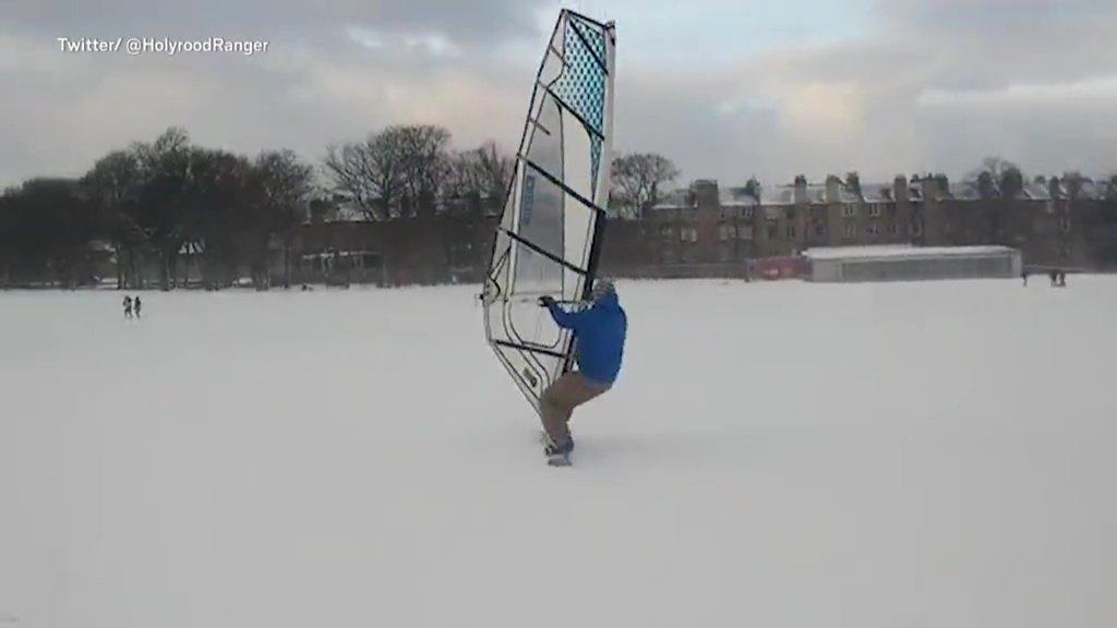 Man in Edinburgh invents new sport of windsurf snowboarding during Storm Emma