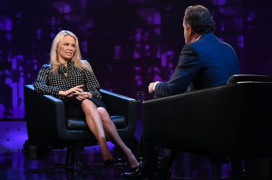 This image is strictly embargoed until 00.01 Tuesday 27th February 2018 From ITV Studios Piers Morgan's Life Stories: SR15 on ITV Pictured: Piers Morgan and Pamela Anderson. This photograph is (C) ITV Plc and can only be reproduced for editorial purposes directly in connection with the programme or event mentioned above, or ITV plc. Once made available by ITV plc Picture Desk, this photograph can be reproduced once only up until the transmission [TX] date and no reproduction fee will be charged. Any subsequent usage may incur a fee. This photograph must not be manipulated [excluding basic cropping] in a manner which alters the visual appearance of the person photographed deemed detrimental or inappropriate by ITV plc Picture Desk. This photograph must not be syndicated to any other company, publication or website, or permanently archived, without the express written permission of ITV Plc Picture Desk. Full Terms and conditions are available on the website www.itvpictures.co.uk. For further information please contact: james.hilder@itv.com / 0207 157 3052