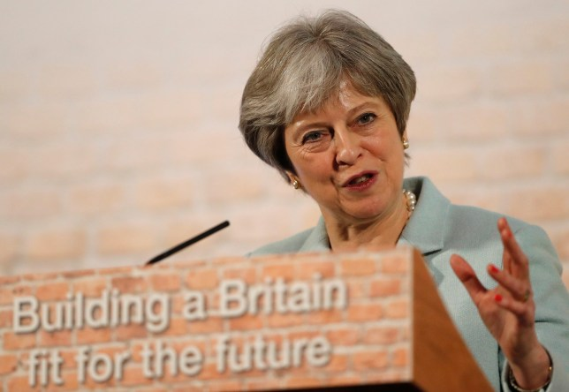 Britain's Prime Minister Theresa May makes a speech London, Monday, March 5, 2018 the speech focused on new housing developments. (AP Photo/Frank Augstein, pool)