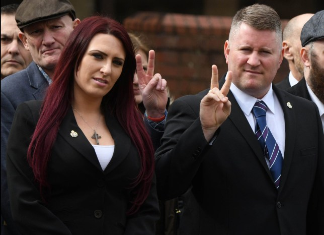 Image ?Licensed to i-Images Picture Agency. 07/03/2018. Folkestone, United Kingdom. Paul Golding and Jayda Fransen Trial Verdict. Verdicts announced in trial of leader and deputy leader of far-right group Britain First over allegations of religiously aggravated harassment. Paul Golding, 35, and Jayda Fransen, 31, both from Penge, south east London, arrive at Folkstone Magistrates Court, Kent, for the verdict in their trial after being arrested as part of an investigation into the distribution of leaflets and the posting of online videos during a trial held at Canterbury Crown Court. Picture by Andrew Parsons / i-Images