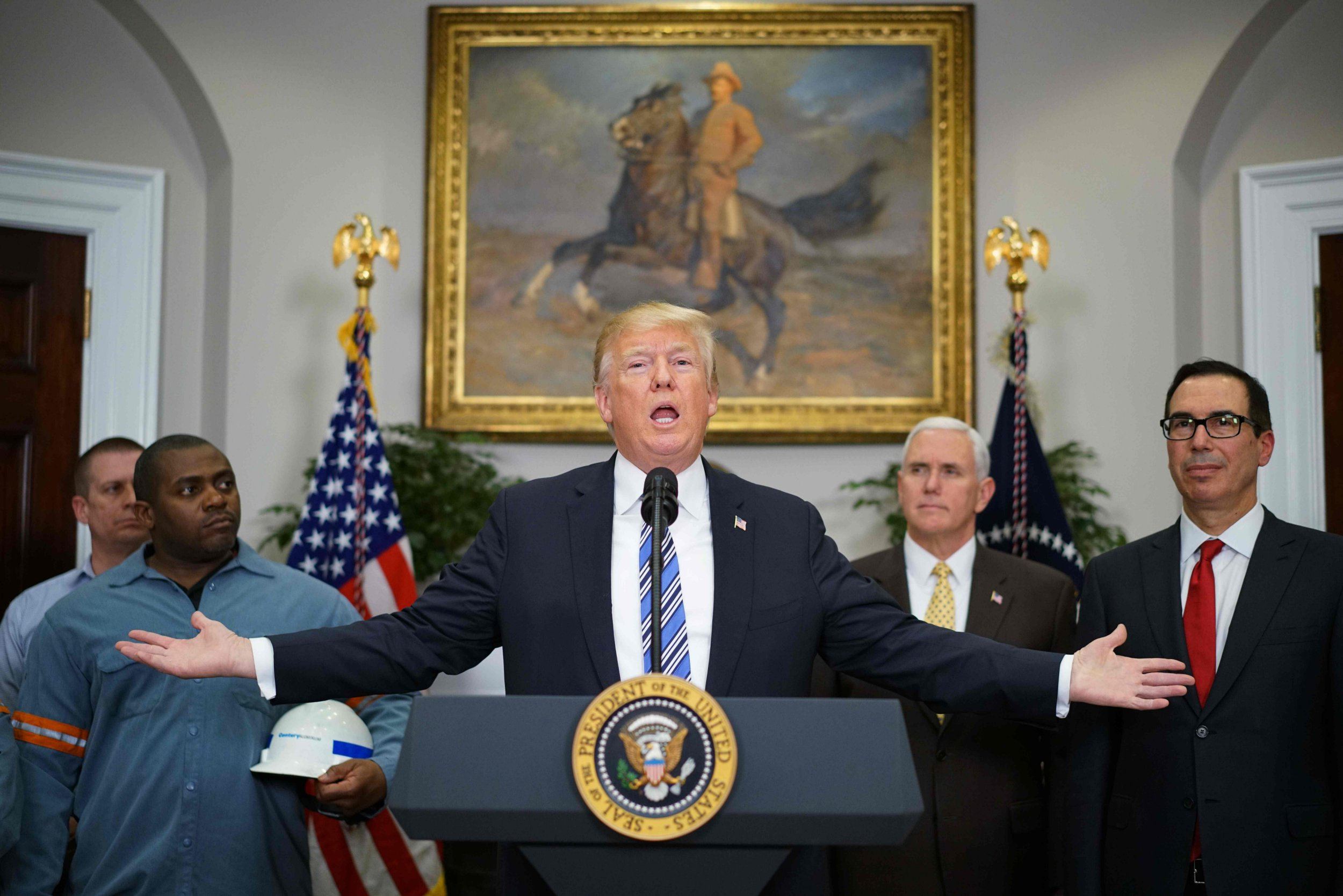 "US President Donald Trump speaks before signing Section 232 proclamations on steel and aluminum imports in the Roosevelt Room of the White House on March 8, 2018 in Washington, DC. Trump on Thursday declared the American steel and aluminum industries had been ""ravaged by aggressive foreign trade practices"" as he signed off on contentious trade tariffs. ""It's really an assault on our country,"" he continued. ""I've been talking about this a long time, a lot longer than my political career."" / AFP PHOTO / MANDEL NGANMANDEL NGAN/AFP/Getty Images"