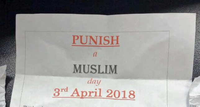 "Undated handout photo issued by Tell MAMA of a letter advertising ""Punish a Muslim Day"". Police are investigating a possible hate crime after reports that anti-Islamic letters were posted across the country. PRESS ASSOCIATION Photo. Issue date: Saturday March 10, 2018. See PA story POLICE Letters. Photo credit should read: Tell MAMA/PA Wire NOTE TO EDITORS: This handout photo may only be used in for editorial reporting purposes for the contemporaneous illustration of events, things or the people in the image or facts mentioned in the caption. Reuse of the picture may require further permission from the copyright holder."