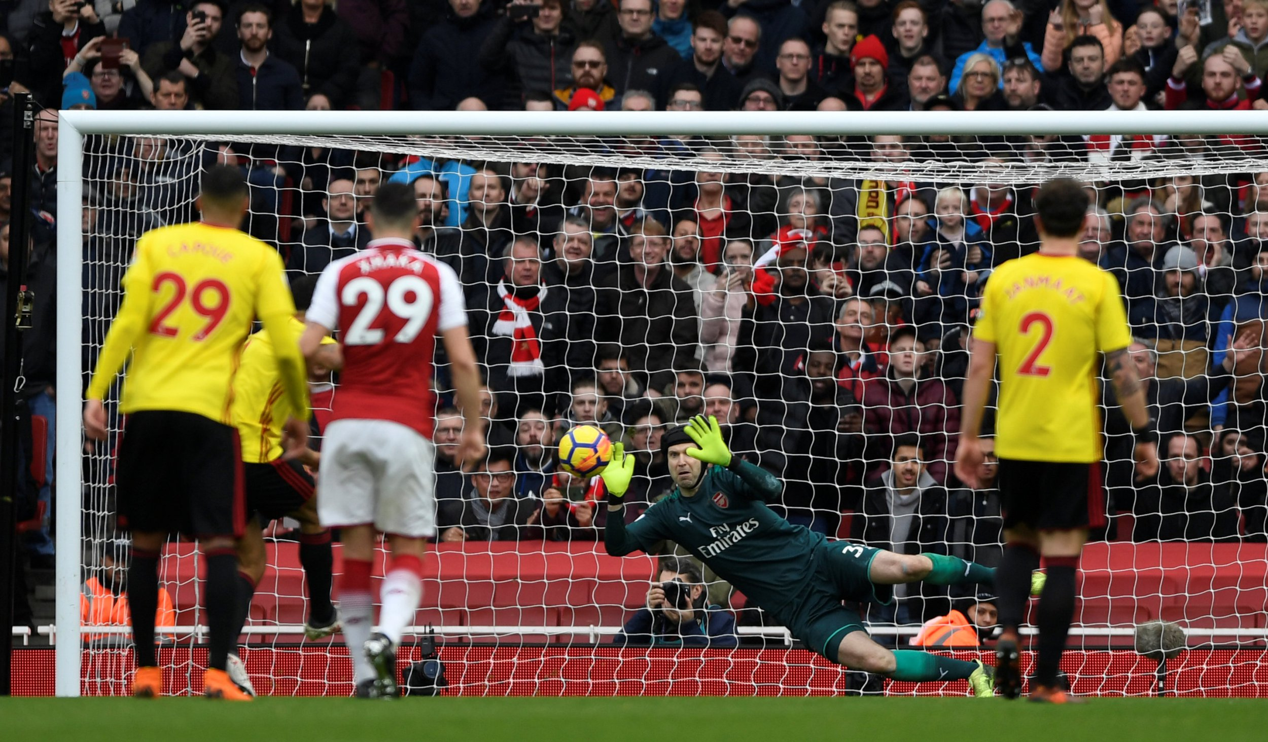 """Soccer Football - Premier League - Arsenal vs Watford - Emirates Stadium, London, Britain - March 11, 2018 Watford's Troy Deeney has a penalty saved by Arsenal's Petr Cech Action Images via Reuters/Tony O'Brien EDITORIAL USE ONLY. No use with unauthorized audio, video, data, fixture lists, club/league logos or """"live"""" services. Online in-match use limited to 75 images, no video emulation. No use in betting, games or single club/league/player publications. Please contact your account representative for further details."""