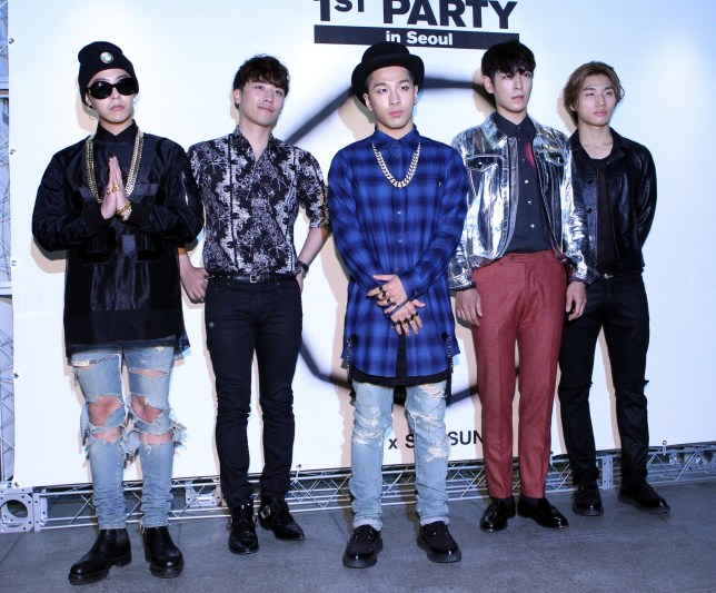 SEOUL, SOUTH KOREA - SEPTEMBER 11: BigBang pose for photographs during the NONA9ON launching party at Club Octagon on September 11, 2014 in Seoul, South Korea. (Photo by ilgan Sports/Multi-Bits via Getty Images)
