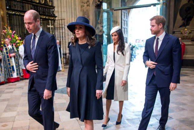 Mandatory Credit: Photo by REX/Shutterstock (9457109a) Their Royals Highnesses Prince William and Catherine Duchess of Cambridge with Prince Harry and his Fiancee Meghan Markle Commonwealth Day observance service, Westminster Abbey, London, UK - 12 Mar 2018