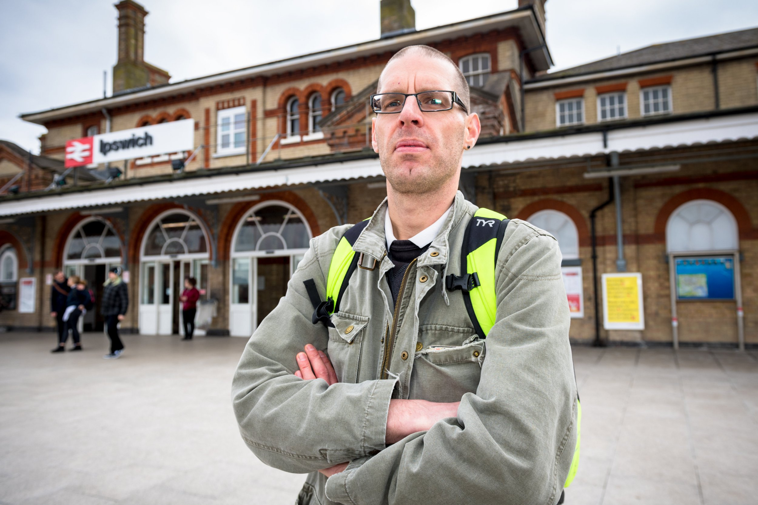 Seph Pochin, 45 who took legal action against Greater Anglia trains after being held up 183 times in a year.See Masons copy MNTRAIN: A commuter has sued a rail firm after regular delays left him repeatedly late for work. Ecologist Seph Pochin, 45, took legal action against Greater Anglia after being held up 183 times in a year. He has made the 32-mile journey around 550 times in the last year - travelling 32 miles from his home in Halesworth, Suffolk, to his office in Ipswich five days a week.
