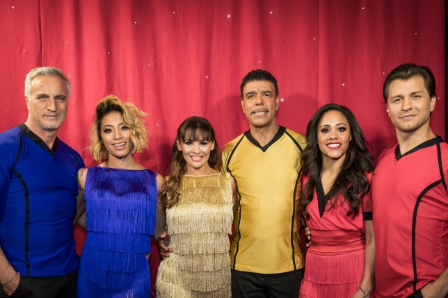 WARNING: Embargoed for publication until 00:00:01 on 13/03/2018 - Programme Name: Sport Relief 2018 - TX: 23/02/2018 - Episode: n/a (No. n/a) - Picture Shows: **Strictly Embargoed until 13/03/2018 00:00:01** David Ginola, Karen Clifton, Anya Garnis, Chris Kamara, Alex Scott MBE, Pasha Kovalev - (C) BBC - Photographer: Guy Levy