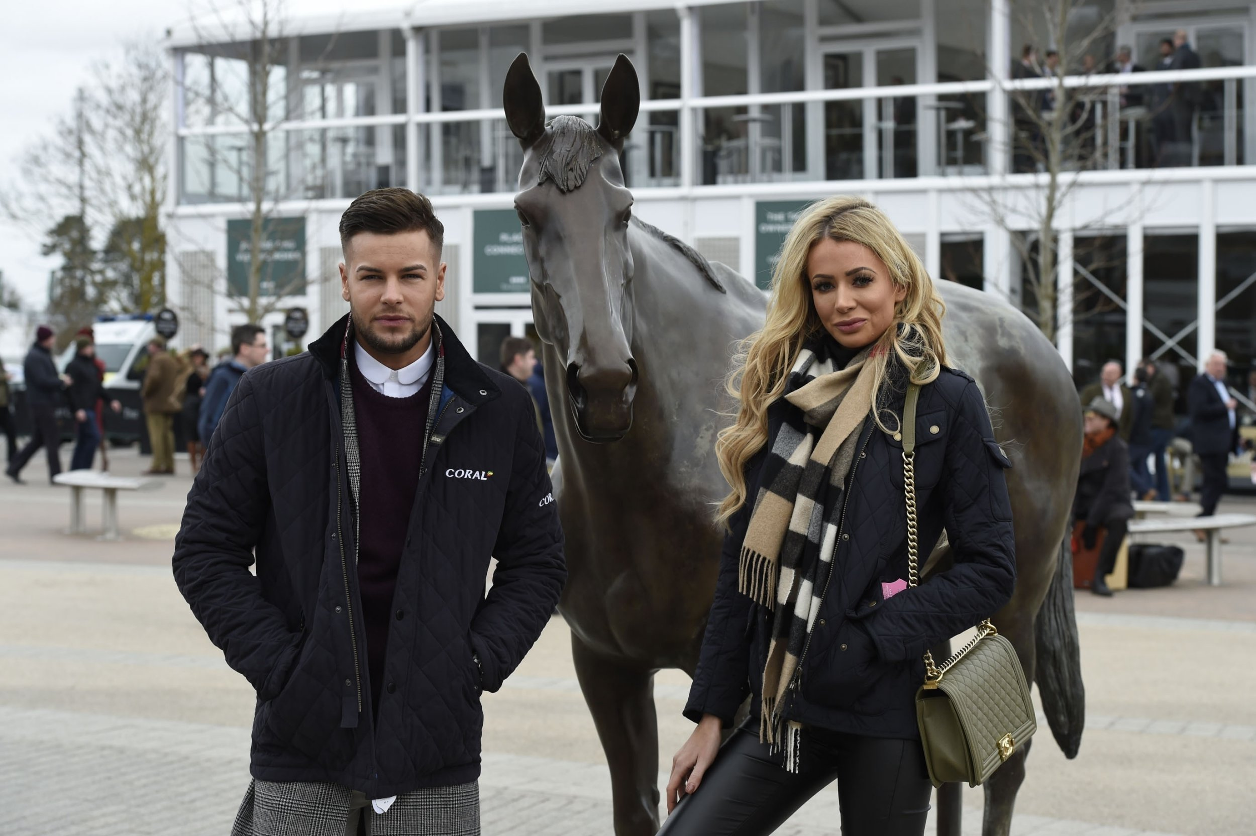 BGUK_1173596 - Cheltenham, UNITED KINGDOM - Celebrities dressed to the nines attending Day 2 of the 2018 Cheltenham Festival. Pictured: Chris Hughes and Olivia Attwood BACKGRID UK 14 MARCH 2018 BYLINE MUST READ: James Watkins / BACKGRID UK: +44 208 344 2007 / uksales@backgrid.com USA: +1 310 798 9111 / usasales@backgrid.com *UK Clients - Pictures Containing Children Please Pixelate Face Prior To Publication*