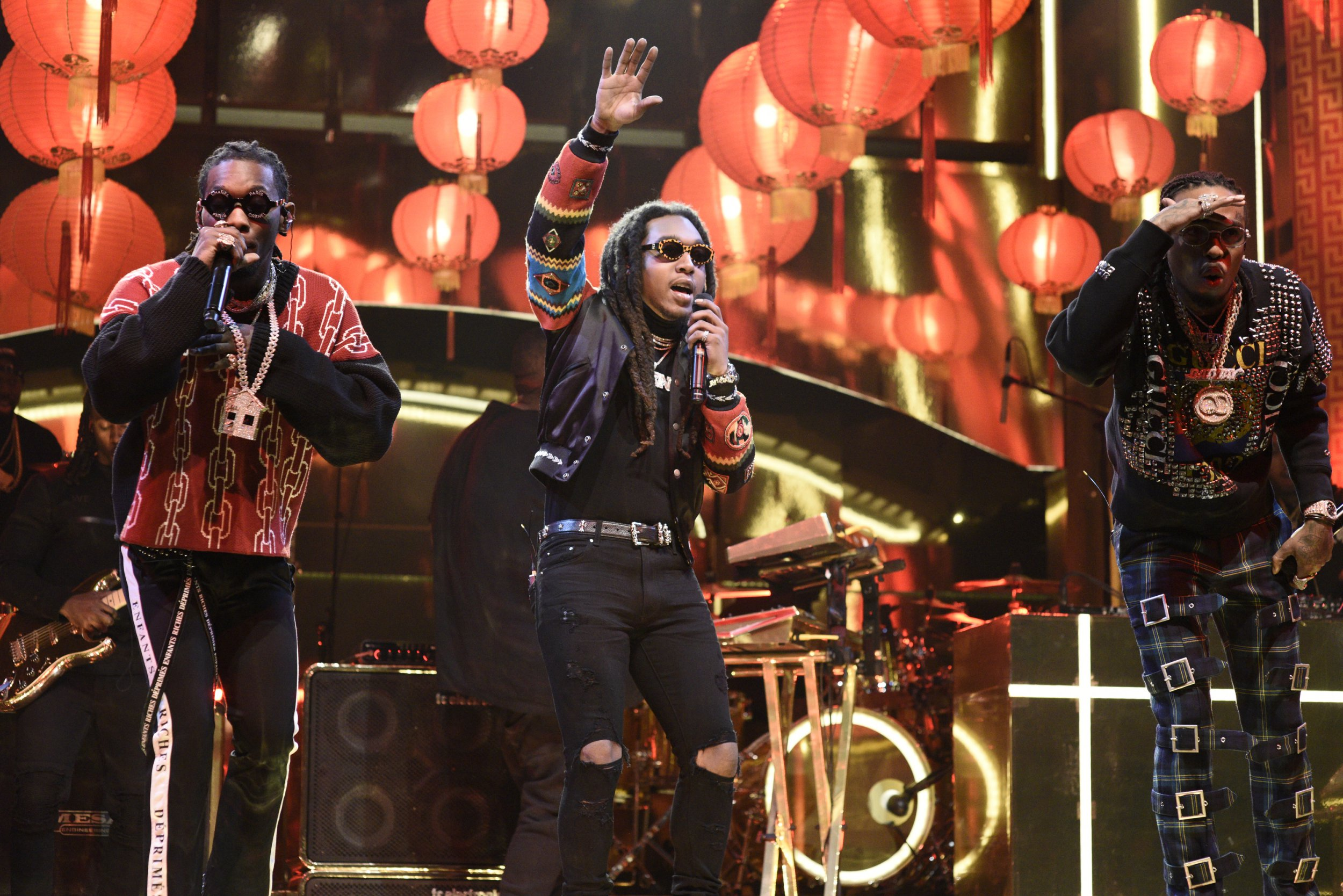 """SATURDAY NIGHT LIVE -- Episode 1739 """"Charles Barkley"""" -- Pictured: Musical Guest Migos performs """"Stir Fy"""" in Studio 8H on Saturday, March 3, 2018 -- (Photo by: Will Heath/NBC/NBCU Photo Bank via Getty Images)"""