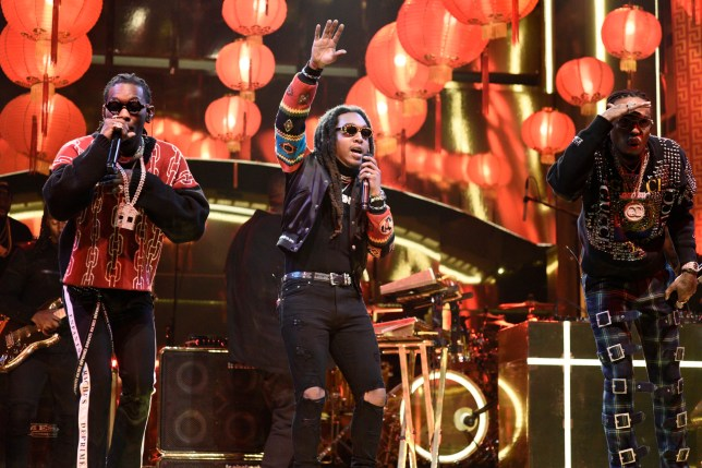 "SATURDAY NIGHT LIVE -- Episode 1739 ""Charles Barkley"" -- Pictured: Musical Guest Migos performs ""Stir Fy"" in Studio 8H on Saturday, March 3, 2018 -- (Photo by: Will Heath/NBC/NBCU Photo Bank via Getty Images)"