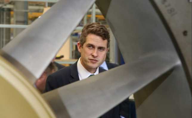 epa06606101 A handout photo made available by the British Ministry of Defence (MOD) showing British Minister of Defence Gavin Williamson with Rolls Royce Bristol employees (not pictured) looking at a ships turbine during a visit to the Rolls Royce Filton facility in Bristol, South West England, 15 March 2018. The MOD reported that Gavin Williamson has announced measures to maintain the Britain???s world-leading chemical analysis and defence capability, as he warned of the intensifying threats the country faces in his first keynote speech in the role. Whilst outlining his vision for the ongoing Modernising Defence Programme on a Policy Exchange platform at Rolls-Royce???s Bristol factory, the Defence Secretary claimed that the ???reckless attack in Salisbury??? should leave the country in no doubt of the threat which Russia poses to our citizens, in addition to other dangers from across the globe. EPA/SGT P.J.GEORGE / BRITISH MINISTRY OF DEFENCE / HANDOUT MANDATORY CREDIT: SGT P.J.GEORGE MOD: CROWN COPYRIGHT HANDOUT EDITORIAL USE ONLY/NO SALES