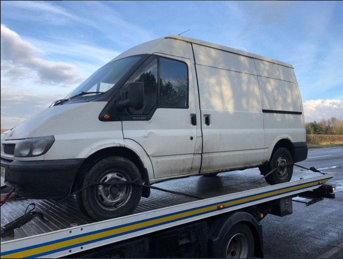 Van caught riding on motorway with no brakes and no MOT METRO GRAB taken from: https://twitter.com/CMPG/status/974330611535171585 Credit: CMPG/Twitter
