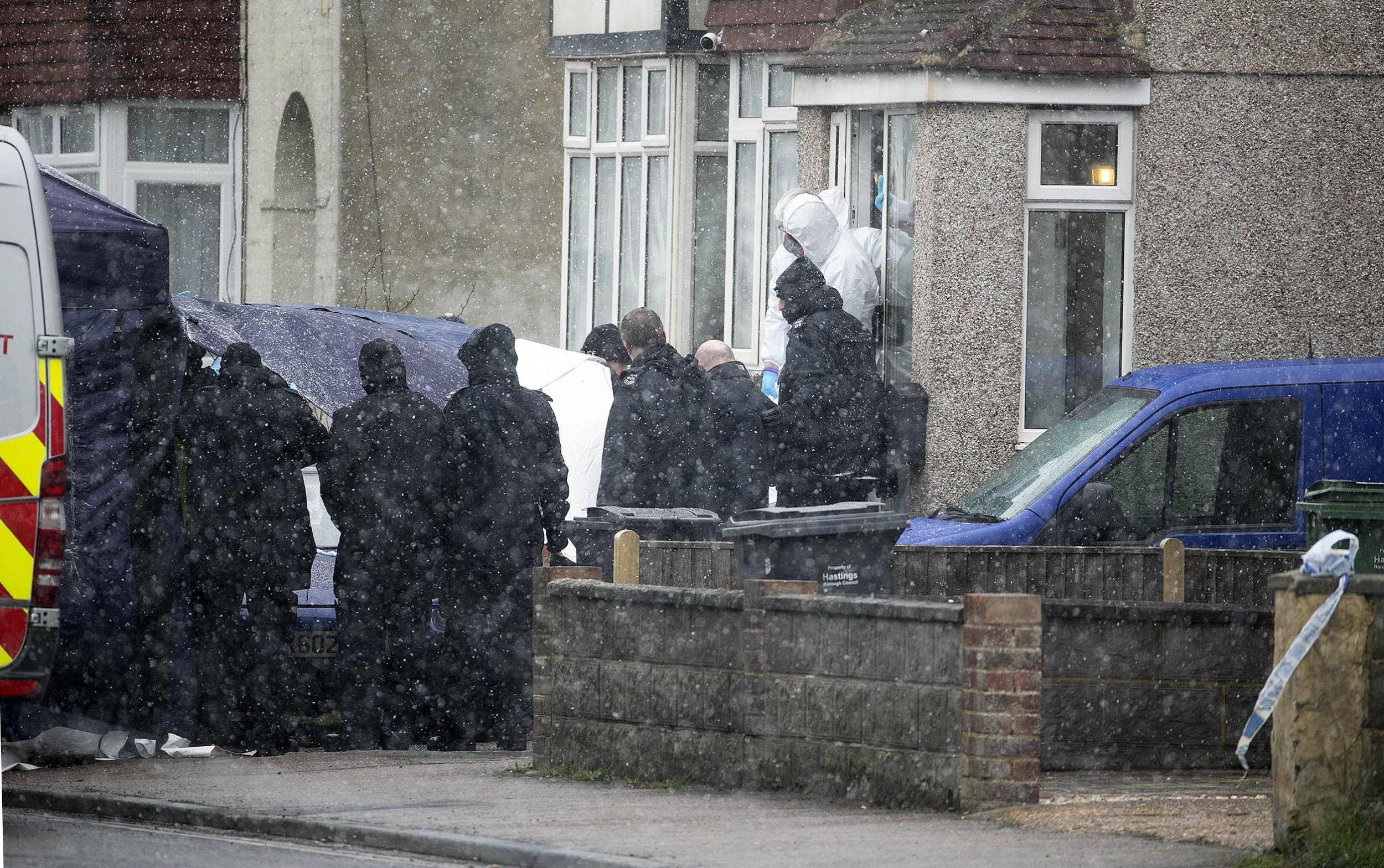 DOUBLE SHOOTING ST LEONARDS - (day two) CORONER AT SCENE-BODIES BEING REMOVED
