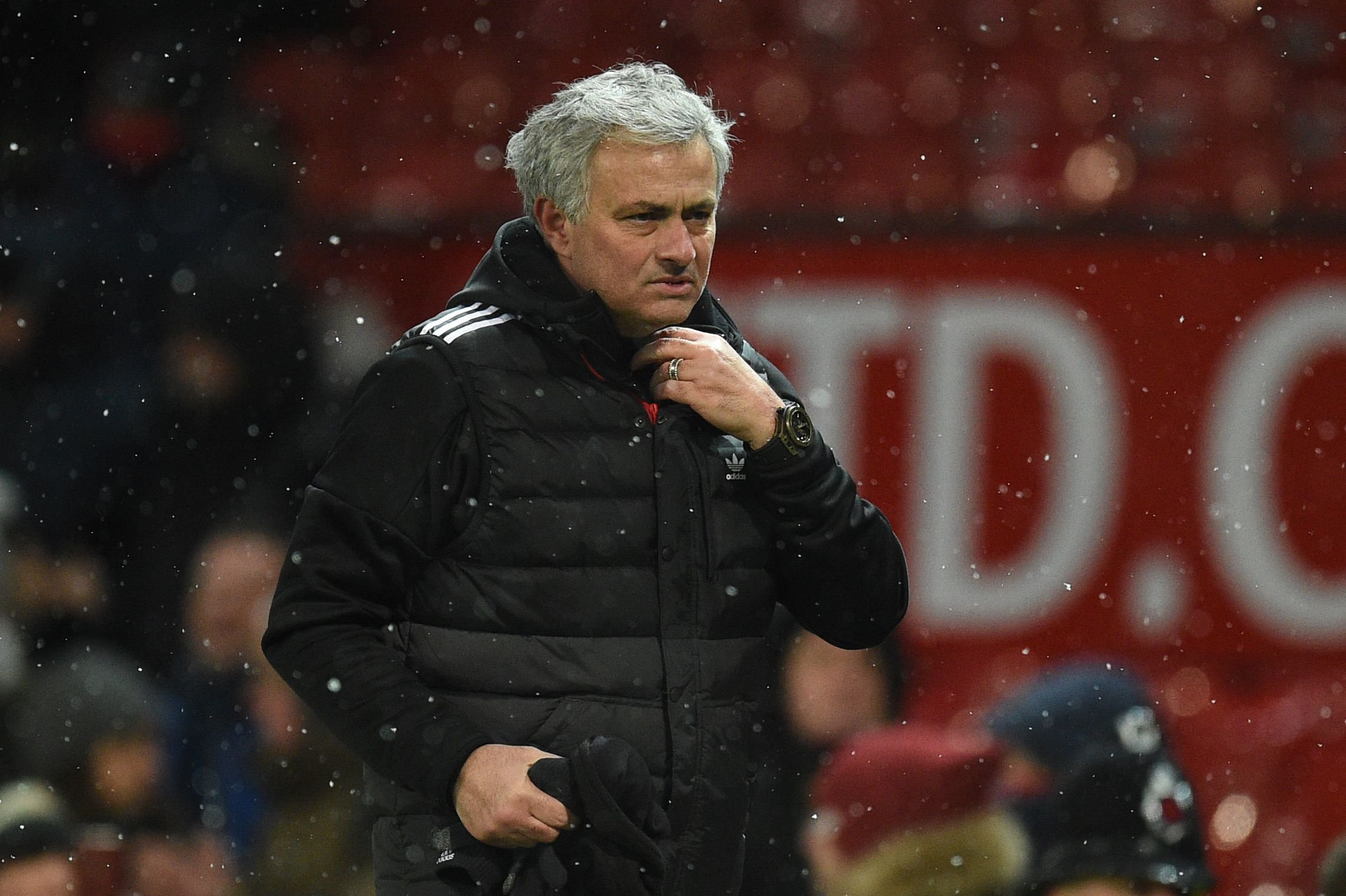 Manchester United's Portuguese manager Jose Mourinho reacts after the English FA Cup quarter-final football match between Manchester United and Brighton and Hove Albion at Old Trafford in Manchester, north west England, on March 17, 2018. / AFP PHOTO / Oli SCARFF / RESTRICTED TO EDITORIAL USE. No use with unauthorized audio, video, data, fixture lists, club/league logos or 'live' services. Online in-match use limited to 75 images, no video emulation. No use in betting, games or single club/league/player publications. / OLI SCARFF/AFP/Getty Images
