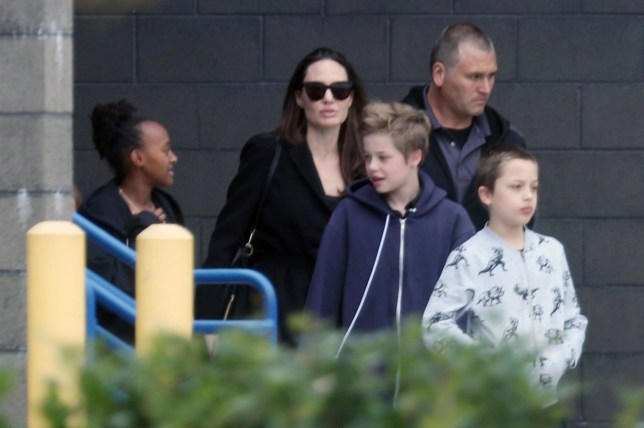 North Hollywood, CA - *EXCLUSIVE* - Actress Angelina Jolie was spotted taking her kids to see the new 'Tomb Raider' film at a North Hollywood movie theater. Angelina was probably anxious to see Alicia Vikander reprise her famous 2001 roll from 'Lara Croft: Tomb Raider.' Pictured: Angelina Jolie, Shiloh Jolie-Pitt, Knox Jolie-Pitt, Zahara Jolie-Pitt BACKGRID USA 18 MARCH 2018 USA: +1 310 798 9111 / usasales@backgrid.com UK: +44 208 344 2007 / uksales@backgrid.com *UK Clients - Pictures Containing Children Please Pixelate Face Prior To Publication*