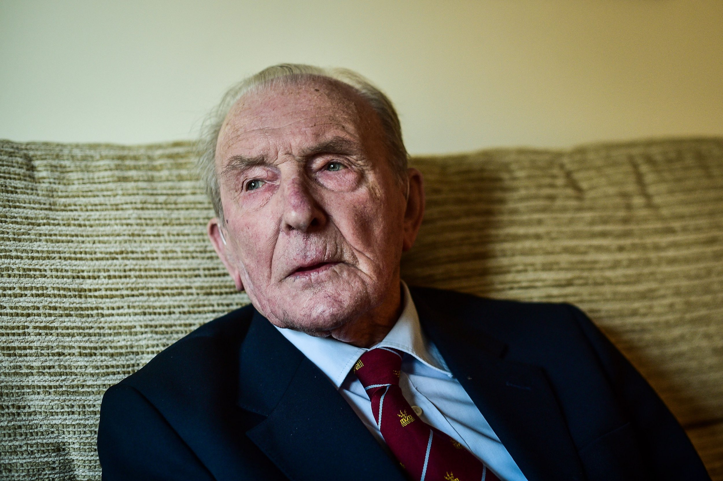 """File photo dated 05/01/17 of the only surviving member of the Dambuster, George """"Johnny"""" Johnson, as all 133 members of Royal Air Force 617 Squadron, will be """"reunited"""" in a poignant exhibition marking the 75th anniversary of the raids."""