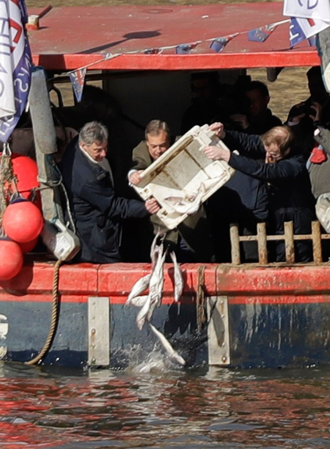 Former pro-Brexit UK Independence Party (UKIP) leader Nigel Farage, center, helps tip a container of fish into the River Thames backdropped by the Houses of Parliament in London, Wednesday, March 21, 2018. Farage joined fisherman to dump fish into the Thames Wednesday, in a protest stunt against the proposals for how Britain's fishing industry will be affected by the Brexit transition deal with the EU. (AP Photo/Matt Dunham)