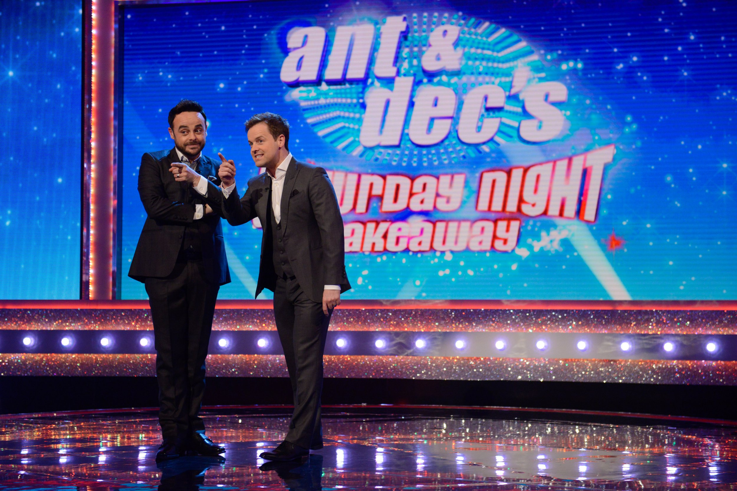Editorial Use Only. No merchandising Mandatory Credit: Photo by REX/Shutterstock (8561340aj) Anthony McPartlin, Declan Donnelly 'Ant and Dec's Saturday Night Takeaway' TV Programme, London, UK - 01 Apr 2017