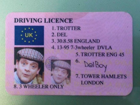 Driver thinks fake Del Boy driving licence will get them out of trouble