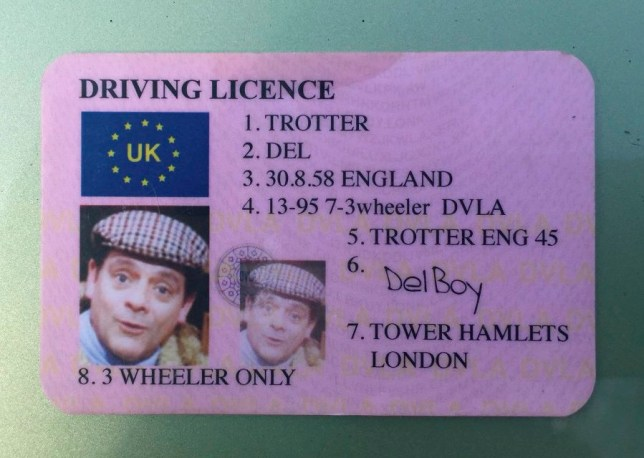 The fake Del Trotter driving licence police found on a man stopped in Terrington, Norfolk. See Masons copy MNDELBOY: A cheeky driver has been reported for having no licence or insurance after police stopped them and found a fake driving licence - which said he was Del Boy. The police dogs team pulled the driver over and dealt with the driver for not having licence or insurance, and afterwards found the dodgy licence in the car. Registered to a Mr Del Trotter, the fake stated that its owner was only licensed to drive a three wheeler, when they were clearly driving a green Renault Megane.
