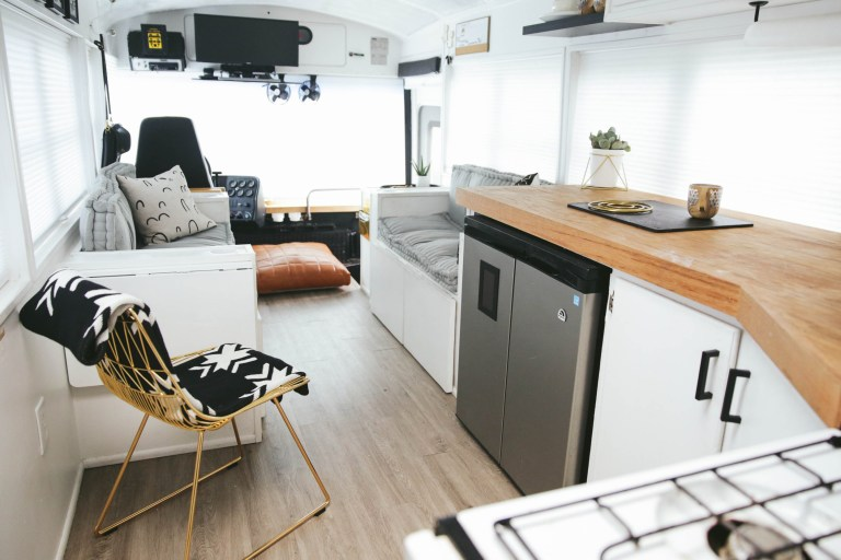 Family convert school bus into a seriously stunning modern