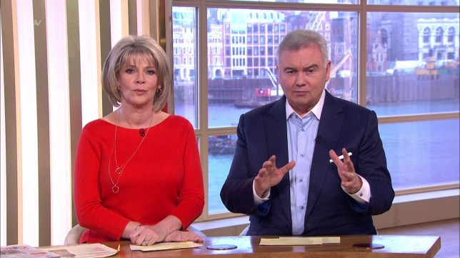 This Morning. Broadcast on ITV1 Featuring: Ruth Langsford, Eamonn Holmes When: 23 Mar 2018 Credit: Supplied by WENN **WENN does not claim any ownership including but not limited to Copyright, License in attached material. Fees charged by WENN are for WENN's services only, do not, nor are they intended to, convey to the user any ownership of Copyright, License in material. By publishing this material you expressly agree to indemnify, to hold WENN, its directors, shareholders, employees harmless from any loss, claims, damages, demands, expenses (including legal fees), any causes of action, allegation against WENN arising out of, connected in any way with publication of the material.**