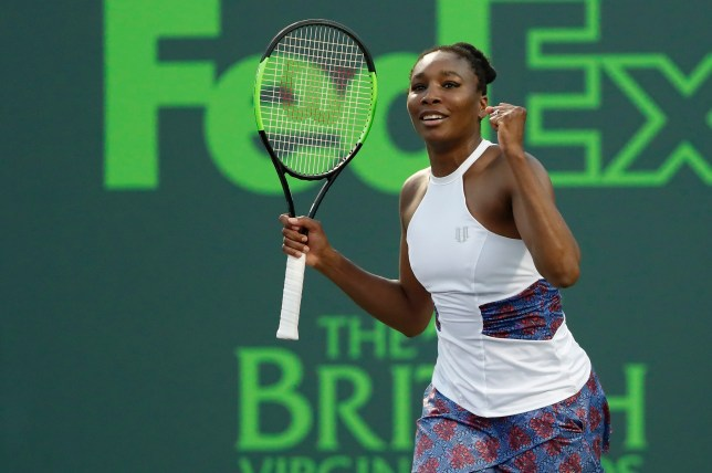 Mar 23, 2018; Key Biscayne, FL, USA; Venus Williams of the United States celebrates after winning match point against Natalia Vikhlyantseva of Russia (not pictured) on day four of the Miami Open at Tennis Center at Crandon Park. Williams won 7-5, 6-4. Mandatory Credit: Geoff Burke-USA TODAY Sports