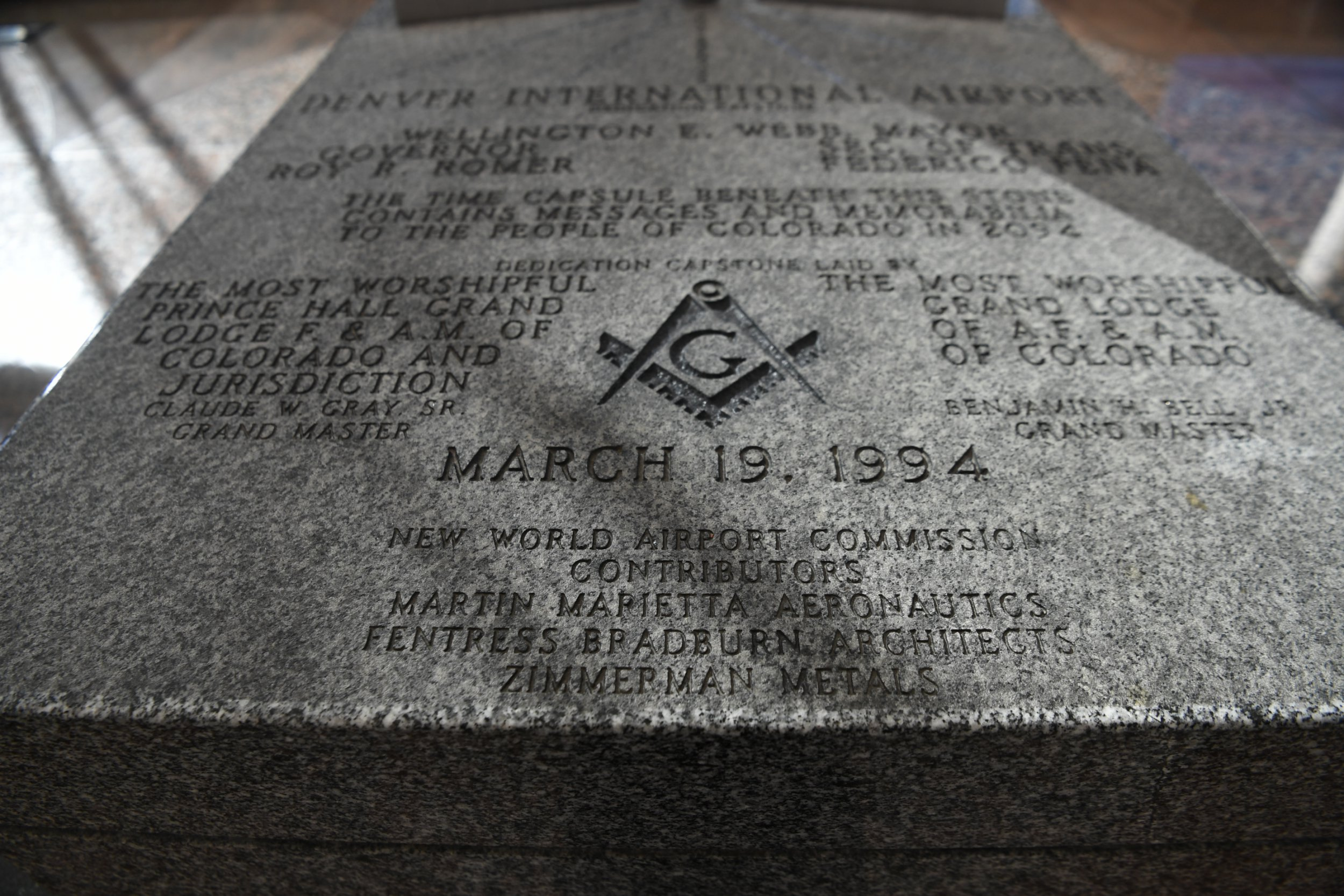 DENVER, CO - October 20: A time capsule scribed with a Freemason symbol and the words New World Airport Commission at Denver International Airport October 20, 2016. (Photo by Andy Cross/The Denver Post via Getty Images)