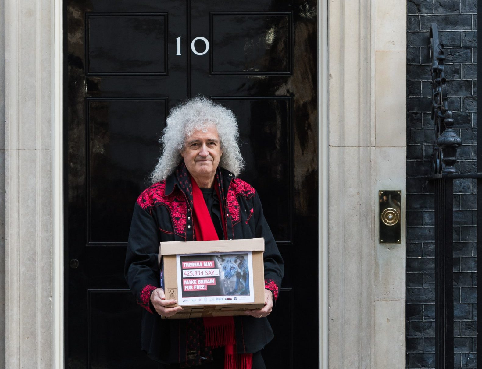 Queen's Brian May delivers Fur Free Britain petition to 10 Downing Street calling for an import ban on fur