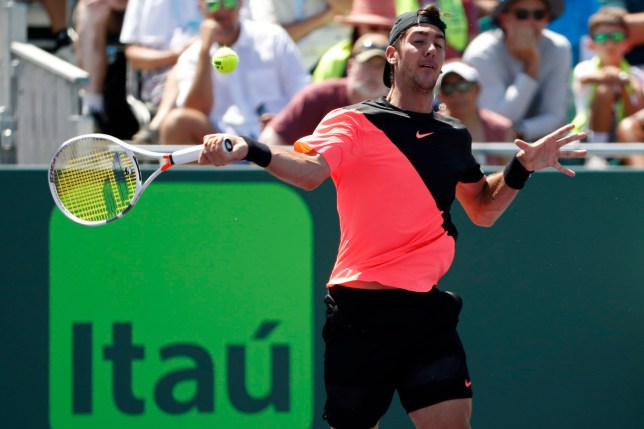 Mar 26, 2018; Key Biscayne, FL, USA; Thanasi Kokkinakis of Australia hits a forehand against Fernando Verdasco of Spain (not pictured) on day seven of the Miami Open at Tennis Center at Crandon Park. Mandatory Credit: Geoff Burke-USA TODAY Sports