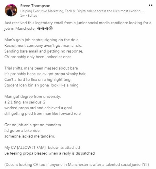 White graduate wrote grime rap for job application and it
