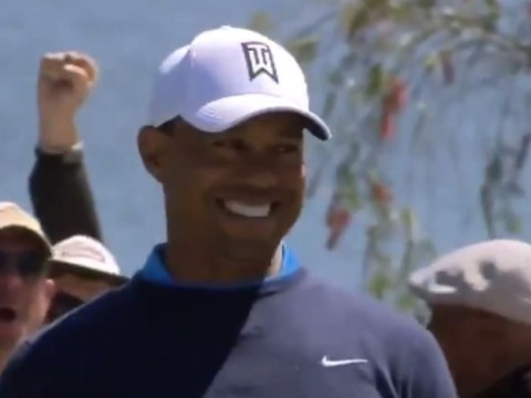 Tiger Woods can hardly stop smiling after he drains monster putt at Bay Hill Arnold Palmer Invitational